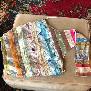 Hobo purse tote silk ruffles made in India nwot
